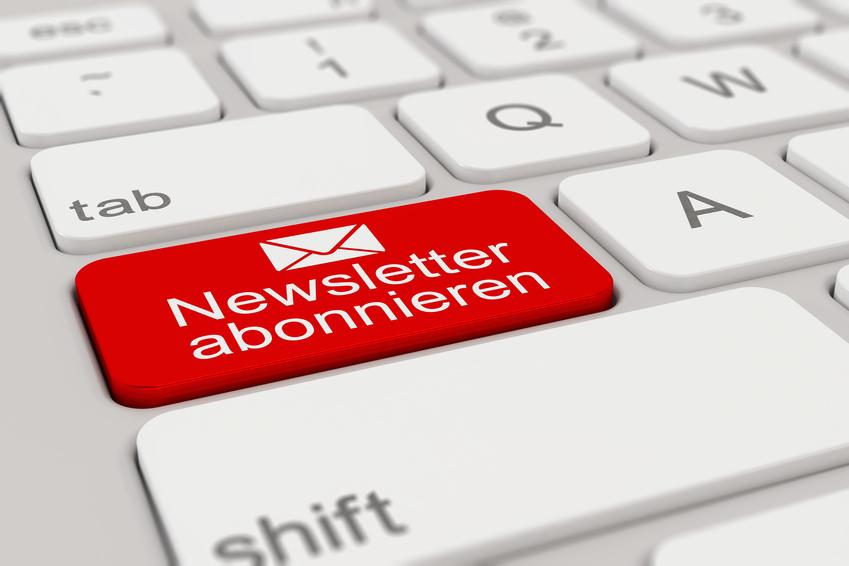 Tastatur - Newsletter abonnieren - rot